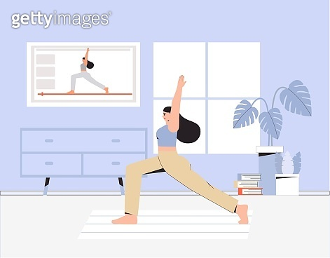 A young woman doing yoga in a cozy room with a modern interior, the concept of online yoga and stay at home. Flat style vector illustration. Online exercises live broadcast.