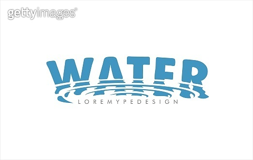 Water word vector design. Swirl drop reflection water ripple filter effect. Wave  smudge water surface refraction. Aqua fresh free symbol, sign or icon.