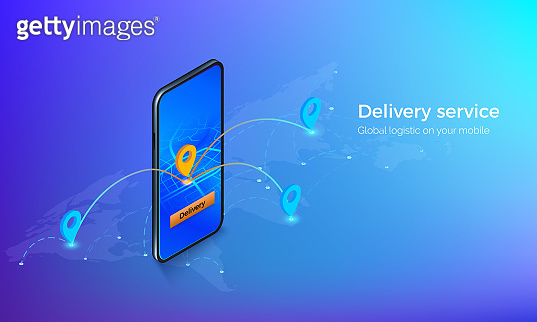 Interface of delivery service isometric banner. Mobile on global map with location pins and routes. gps or navigation on mobile app. Vector illustration