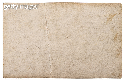 Used paper sheet isolated white background Old cardboard texture