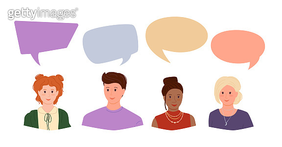 Young people with dialog speech bubbles set vector