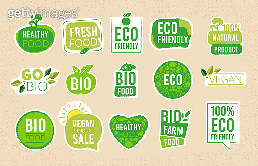 Vegetarian labels. Eco healthy fresh food tags natural products badges organic symbols vector stamps collection