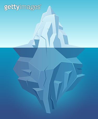 Iceberg in ocean. Big ice white rock in water polar landscape in cartoon style vector outdoor nature