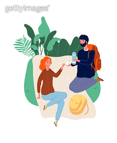 Tourists at stop. Man woman on picnic. Male with backpack, female drinking. Hiking, vacation time vector illustration