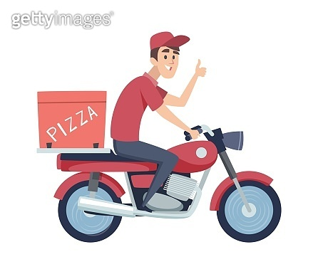 Delivery boy on motorcycle. Man ride on scooter. Isolated flat man delivers pizza vector illustration