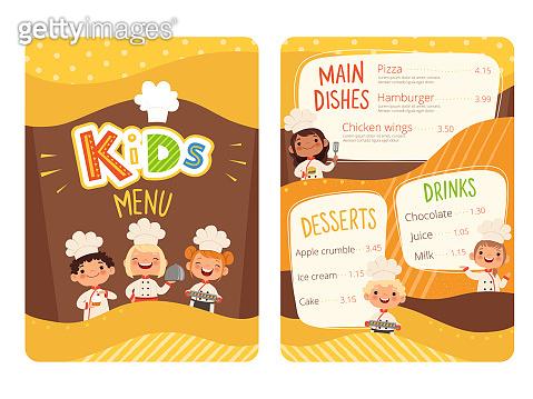 Kids menu. Childrens cooking food little chef restaurant eating menu for little happy peoples vector cartoon template