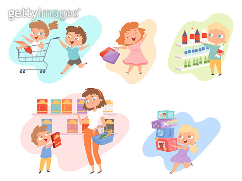 Kids shopping. Children playing in grocery market fashioned family happy kids vector