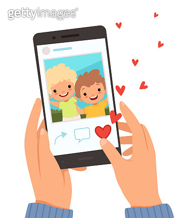 Friends portrait. Hands holding smartphone with photo of happy smile kids on screen like in social website vector cartoon background