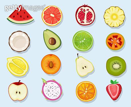 Half fruits circle icons. Cute cartoon healthy vegan natural products plants food orange lemon apple vector clipart set