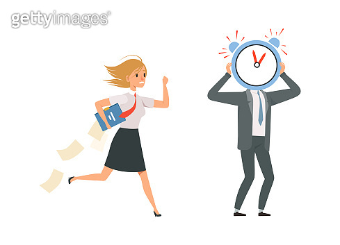 Managers characters. Office staff and deadline late for work. Girl wear uniform and papers vector illustration