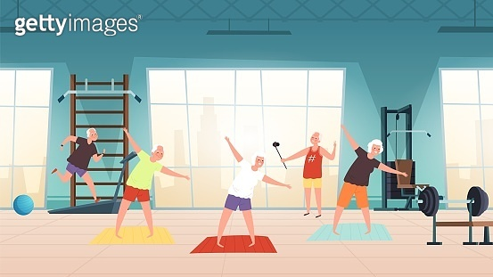 Elderly in gym. Happy seniors, active lifestyle old people. Man woman training, doing yoga running vector illustration