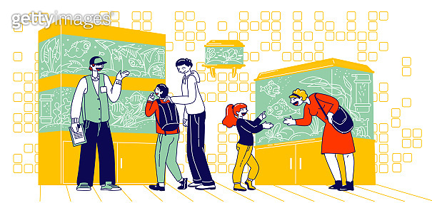 Characters Watching Fishes Swimming in Aquariums in Pet Shop. Parents Choose Fish for Children. Salesman Explain Customers of Fish Care before Purchasing, Zoo Market. Linear Vector People Illustration