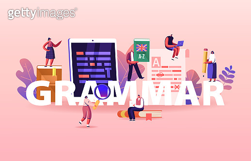 English Grammar Examination Concept. Tiny People Characters Correct Mistakes and Errors in Paper and Digital Test. Fail Exam Results, Incorrect Answers Poster Banner Flyer. Cartoon Vector Illustration