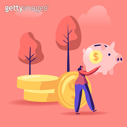 Woman with Piggy Bank in Hands Stand near Golden Coins Pile. People Saving and Collect Money in Thrift-box, Open Bank Deposit. Family Finance Budget Economy Concept Cartoon Flat Vector Illustration