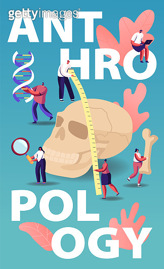 Anthropology Concept. People Research Ancient Fossils, Measuring Huge Human Skull and Study Dna. Tiny Characters Anthropological Science Investigation Poster Banner Flyer. Cartoon Vector Illustration