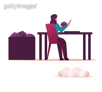 Woman Sitting at Table with Tweezers in Hand Take Pearls Out of Shells. Female Character Working on Pearl Farm Cultivating Molluscs and Making Jewelry for Selling in Store. Cartoon Vector Illustration