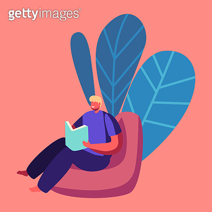 Online School Concept. Schoolboy Character Sitting in Beanbag Reading Textbook. Homeschooling Education at Home Concept. Distant Learning Process Domestic Studying. Cartoon Vector Illustration