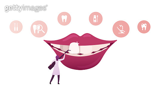 Tiny Female Dentist Doctor Character in Medical Robe Holding Stomatologist Instrument Install Dental Veneers to Huge Mouth in Clinic Cabinet, Aesthetic Stomatology Concept. Cartoon Vector Illustration