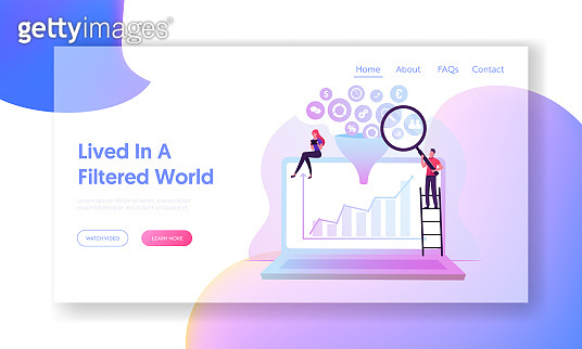 Big Data Funnel Filter Website Landing Page Businesspeople with Magnifier Glass and Tablet Pc Sitting on Huge Laptop with Growing Arrow Graph on Screen Web Page Banner Cartoon Flat Vector Illustration
