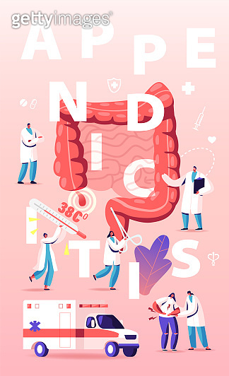 Appendix Pain and Appendicitis Disease Concept. Doctor and Surgeon Help Patient with Abdominal Pain Symptoms. Emergency Help, Surgery Poster Banner Flyer Brochure. Cartoon Flat Vector Illustration