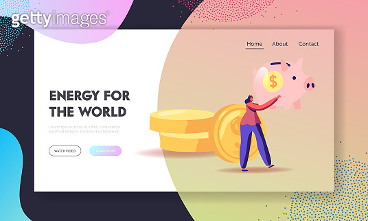 Family Finance Budget Economy Website Landing Page. Woman with Piggy Bank in Hands Stand near Golden Coins Pile. People Saving and Collect Money Web Page Banner. Cartoon Flat Vector Illustration