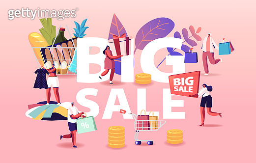 Big Sale Concept. Characters Shopping at Seasonal Discount. Happy Shopaholics with Trolley Full of Purchases and Grocery