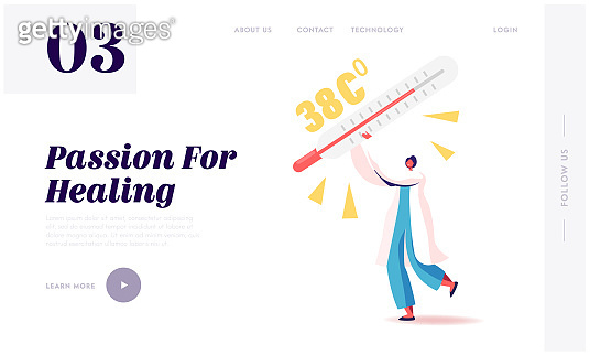 Emergency Help, Surgery Landing Page Template. Doctor Character Carry Huge Thermometer with High Temperature. Flu, Appendicitis Disease, Intestine Inflammation Symptoms. Cartoon Vector Illustration