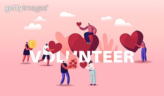 Volunteers Charity Concept. Tiny Male or Female Characters Throw Huge Hearts and Coins Into Box for Donations, Donate