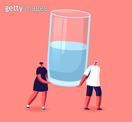 Tiny Male and Female Characters Carry Huge Glass with Fresh Water. Healthy Lifestyle, Pure Aqua Refreshment, Weight Loss
