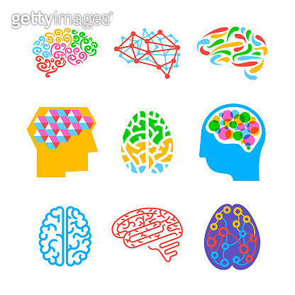Set of Human Brains Isolated on White Background. Collection of Icons or Emblems for Thinking Activity, Creative Idea Generation. Memory, Concentration Design Elements. Cartoon Vector Illustration