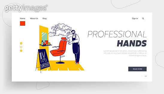 Barber Shop Shaves and Cuts Service Landing Page Template. Master Character with Haircut Tools Waiting Client in Street Barbershop Stand near Chair. Men Haircutting Salon. Linear Vector Illustration