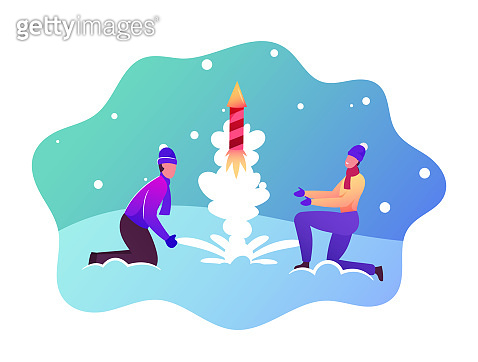 Festive Recreation, Firework Show. Happy Couple Characters Wear Winter Clothes Burning and Launch Petard or Fireworks