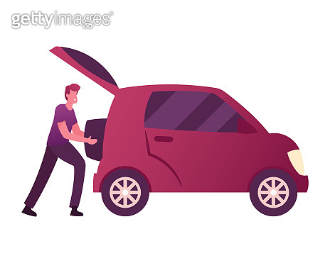 Male Character Put Luggage into Auto Trunk. Man Use Car Sharing Service for Transportation in City. Taxi, Automobile Rental and Share Using Mobile App, Traveling, Trip. Cartoon Vector Illustration