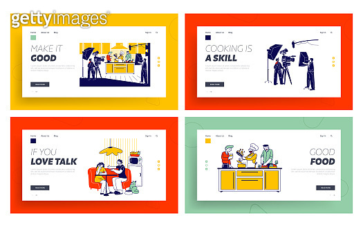 Culinary Program, Show or Blog Broadcasting Landing Page Template Set. Man in Chef Uniform Cooking Dish on Kitchen, Television Crew Characters Record Video on Camera. Linear Vector People Illustration