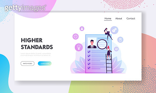 Kyc or Know Your Customer Website Landing Page. Business Identification, Finance Safety. Woman with Magnifying Glass Learn Profile of Man Bank Client Web Page Banner Cartoon Flat Vector Illustration