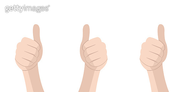 Hand with thumb. Feedback concept. Vector isolated illustration. Congratulate winner vector design illustration. Vector Thumbs up.