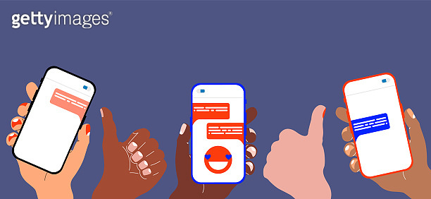 Colourful hands holding smartphones. Modern vector illustration of hands holding cell phones with message on a screen. Web, App design infographics. Trendy isolated elements. Different skin colours.