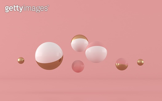 Abstract geometric shape,sphere with gold and pink color, pastel colors,minimal style,3d rendering