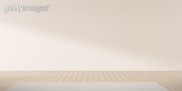 Mock-up of white empty room and wood laminate floor with carpet, Sun light cast the shadow on the wall,Perspective of minimal interior design. 3D rendering