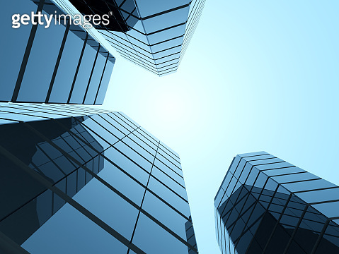 View of high rise glass office building and dark steel window system on blue clear sky background,Business concept of future architecture,looking up to the top of building with sun light. 3d render.