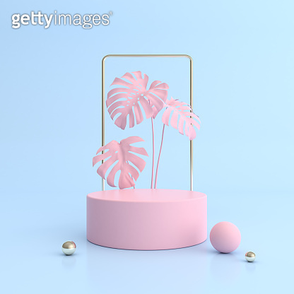 Minimal abstract scene with round podium and pink monstera plant, Architectural mock up design with geometric form in pastel color, Product presentation. 3D rendering.