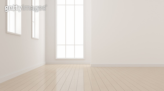 Mock-up of white empty room and wood laminate floor with sun light cast the shadow on the wall,Perspective of minimal interior design. 3D rendering