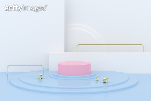 Minimal abstract scene with round podium, Architectural mock up design with geometric form in pastel color, Product presentation. 3D rendering.