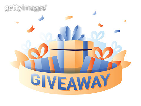 Giveaway for promo in social network, advertizing of giving present, like or repost isolated icon vector. Business acc
