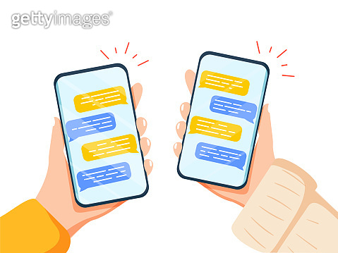 Male hand holding smartphone with message chart on screen vector flat illustration. Human arm with mobile messenger