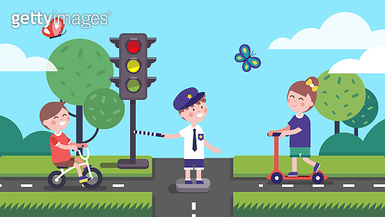 Girl, boy riding bicycle and scooter, kid officer directing traffic at crossroads & traffic light. Smiling children learning road rules playing drivers & traffic controller. Flat vector illustration