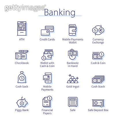 Banking pack. Money currency, coin, cash, savings, piggy bank, credit card, wealth, wallet, mobile phone payment thin line icons set. Business & finance linear vector illustrations