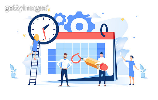 Vector illustration. little people characters make an online schedule in the tablet. design business graphics tasks