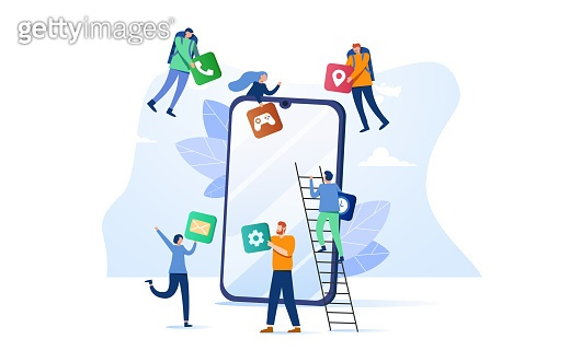 Business People Creative Team Putting App Icons on Huge Smartphone Screen. Designers Develop Application for Mobile