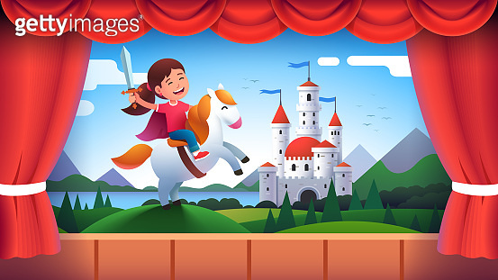 Kindergarten theater stage performance. Girl kid actor role of medieval castle knight wielding sword riding horse. Child acting in fairy tale decorations play show. Flat vector illustration